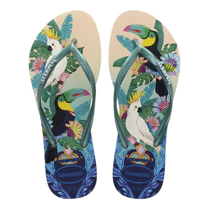 Foto Produk Havaianas Slim Tropical Fc 7907-Beige/Green Leaf - Sandal Wanita - Beige, 37-38 dari Havaianas Official Shop