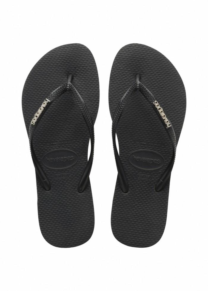 Foto Produk Havaianas Slim Logo Metallic 2976-Black/Silver - Sandal Wanita - Hitam, 33-34 dari Havaianas Official Shop