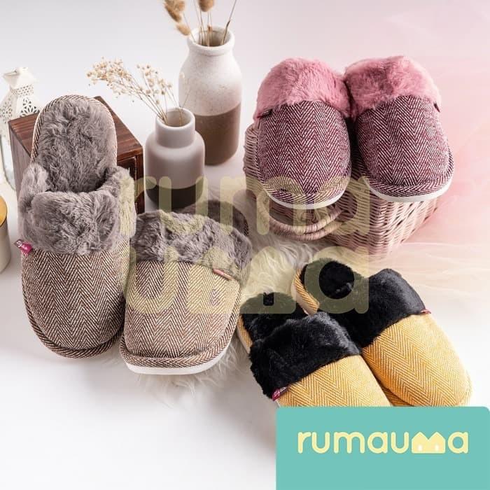 Foto Produk Sandal Slipper Bulu Tidur Rumah Anak Wanita Dewasa Murah Berkualitas - Biru, 42-43 dari Rumauma