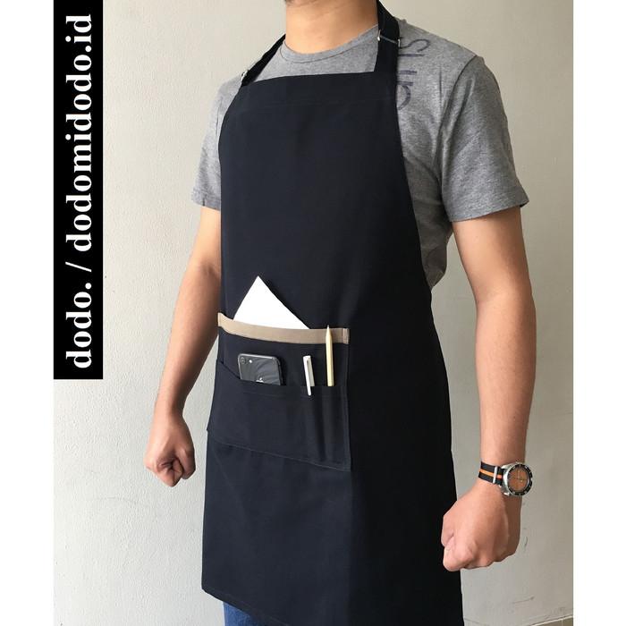 Foto Produk Apron Celemek Barista - Kanvas Premium Handmade - Tali leher Full Body - Hitam dari dodomidodo