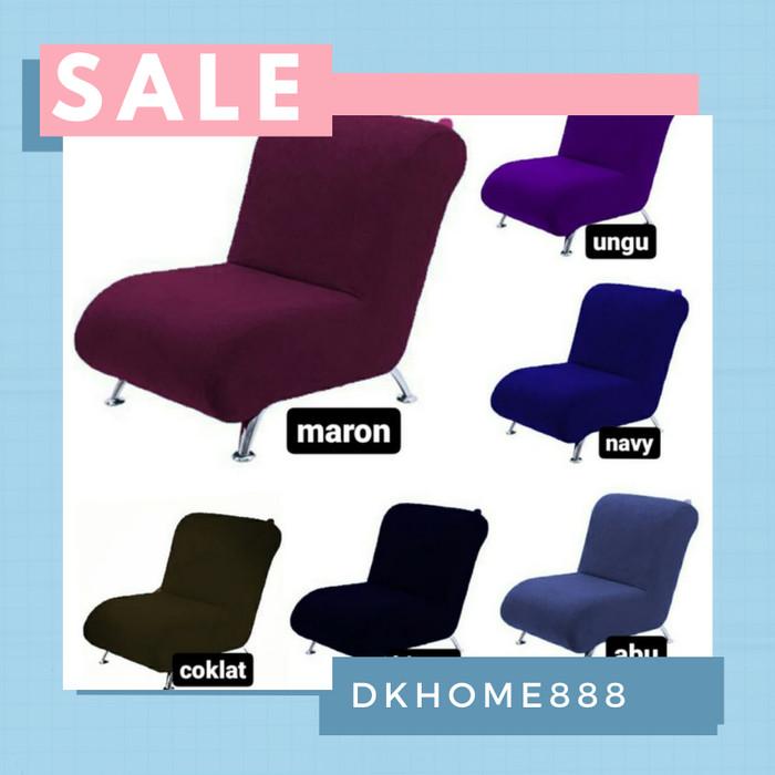 Foto Produk sarung sofa 1 dudukan tanpa tangan + free 1 sarung bantal uk 45x45cm - Abu-abu dari dkhome888