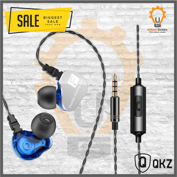 Foto Produk Quality Knowledge Zenith QKZ CK9 In Ear Earphone with Microphone al KZ - Biru dari Urban Geeks