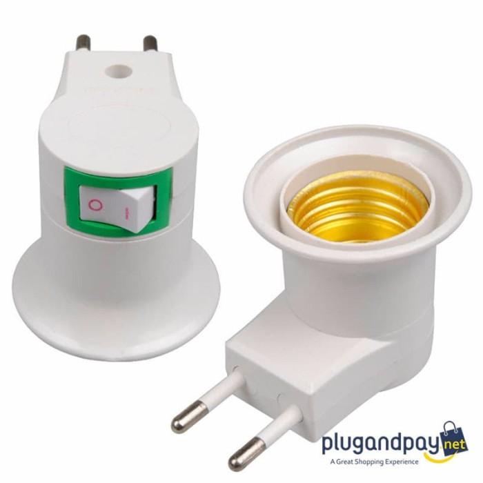 Foto Produk Fitting Bohlam Lampu E27 Saklar Portable EU Plug dari plugandpay