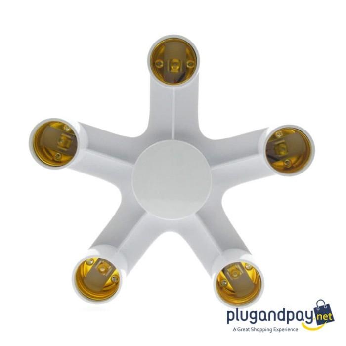 Foto Produk Fitting Bohlam Lampu E27 5 Cabang Lampu Studio dari plugandpay