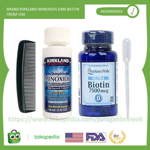 Foto Produk Paket Penumbuh Rambut, Brewok, Dgn Kirkland Minoxidil & Biotin dari Juragan Brewok