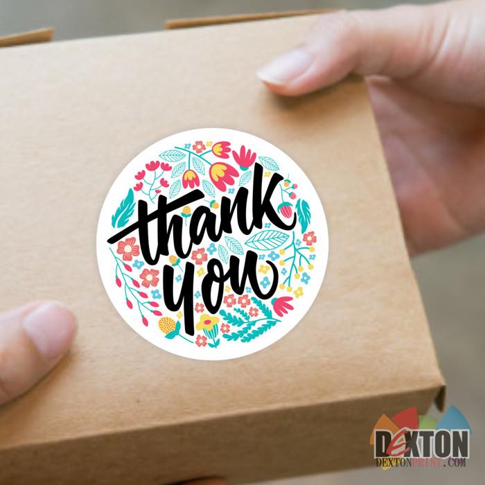 Foto Produk Sticker 1 Pack (Isi 40 lbr) / Stiker Label Bulat Thank You C1016 dari DextonPRINT