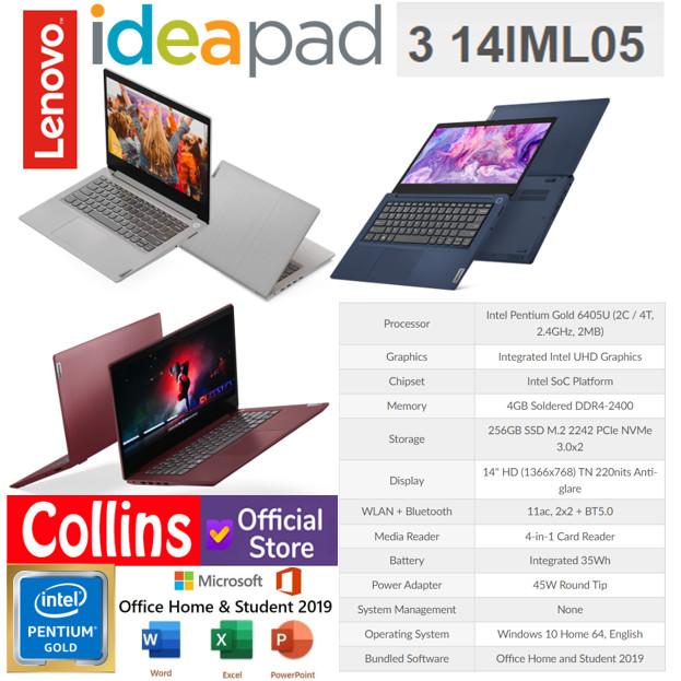 Jual Laptop Lenovo Ideapad 3 14iml05 Pentium 6405u 4gb Ssd 256gb 14 W10 Jakarta Pusat Collins Official Tokopedia