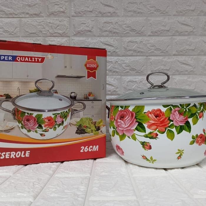 Foto Produk Panci Enamel Reoona Tutup Kaca - Tersedia uk.20/22/24/26 - D 26cm T 15cm dari dedengkot wallpaper