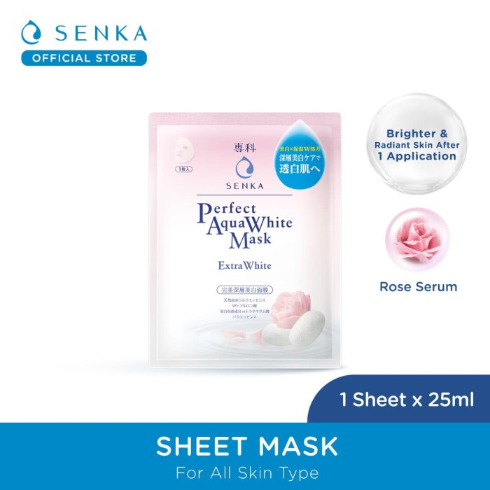 Foto Produk SENKA Perfect Aqua White Mask–Extra White (Masker Wajah, Sheet Mask) dari Senka Official Store
