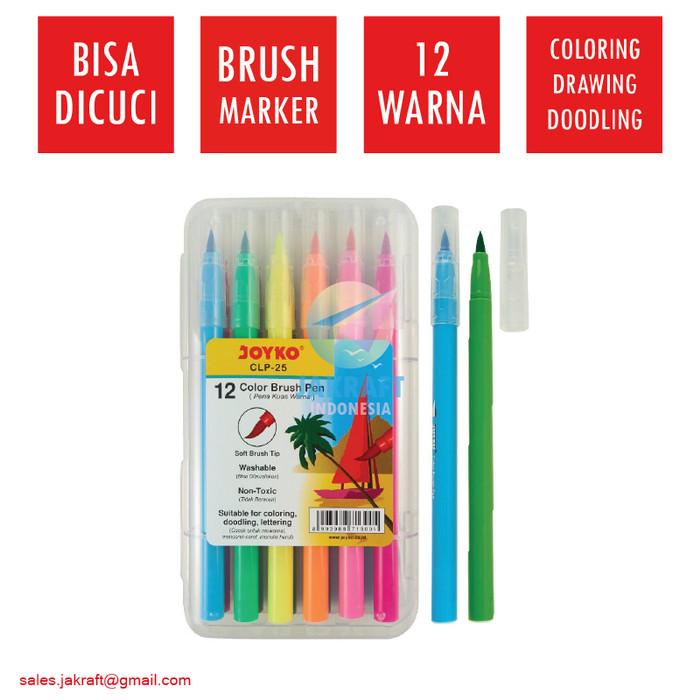 Foto Produk Spidol Bisa Dicuci Set 12 Warna JOYKO Washable Color Brush Pen CLP-25 dari Jakraft Indonesia