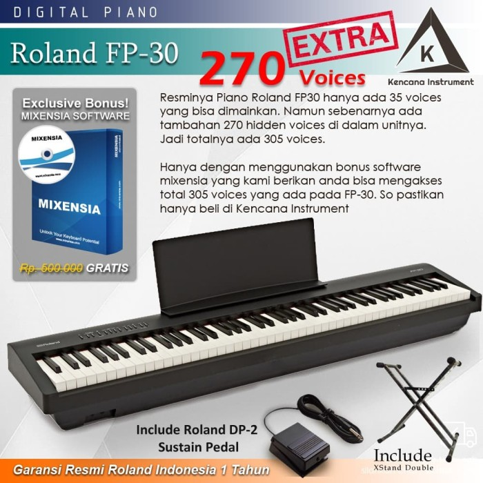 Jual Roland Fp 30 Stand Fp30 Digital Piano Black White Garansi Resmi Putih Kota Bekasi Kencana Instrument Tokopedia