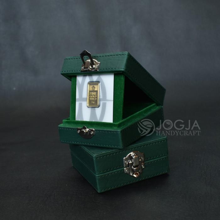 Foto Produk PREMIUM Box Logam Mulia Antam Berjahit / Kotak Tempat Emas Antam - Hijau dari Jogja Crafts