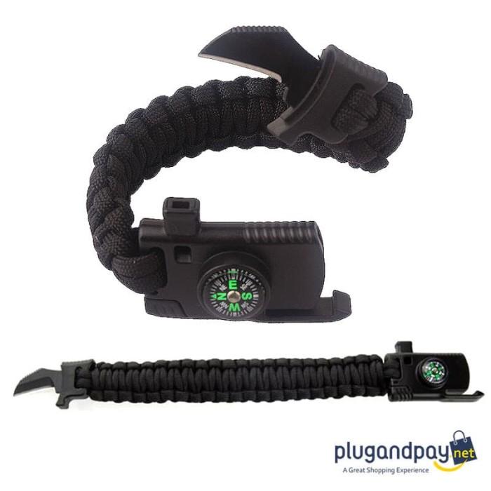 Foto Produk Gelang Kompas Peluit Pisau Multifungsi Survival Tools Outdoor EDC Brac dari plugandpay