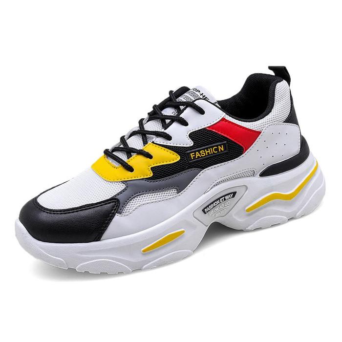 Foto Produk Techdoo Sepatu Sneakers Fashion Pria Mesh Sepatu Olahraga Import MD103 - Kuning Putih, 39 dari Techdoo