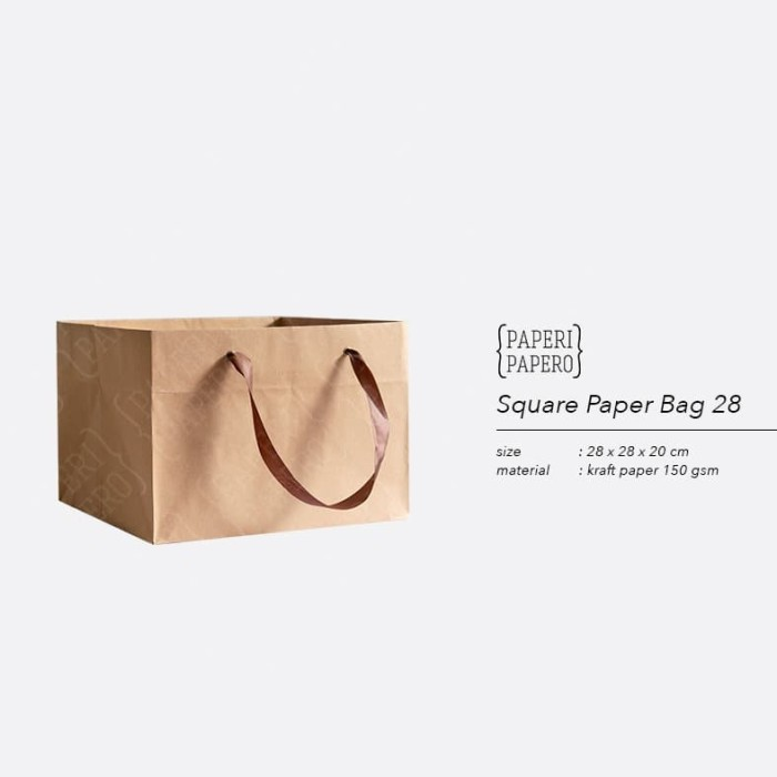 Foto Produk Square Paper Bag / Shopping Bag Coklat untuk Box Kue - 28x28x20 cm dari {Paperi Papero}