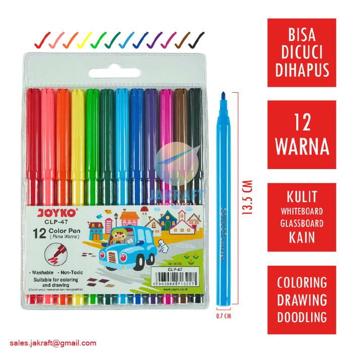 Foto Produk Spidol Bisa Dicuci Hapus Set 12 Warna JOYKO Washable Color Pen CLP-47 dari Jakraft Indonesia