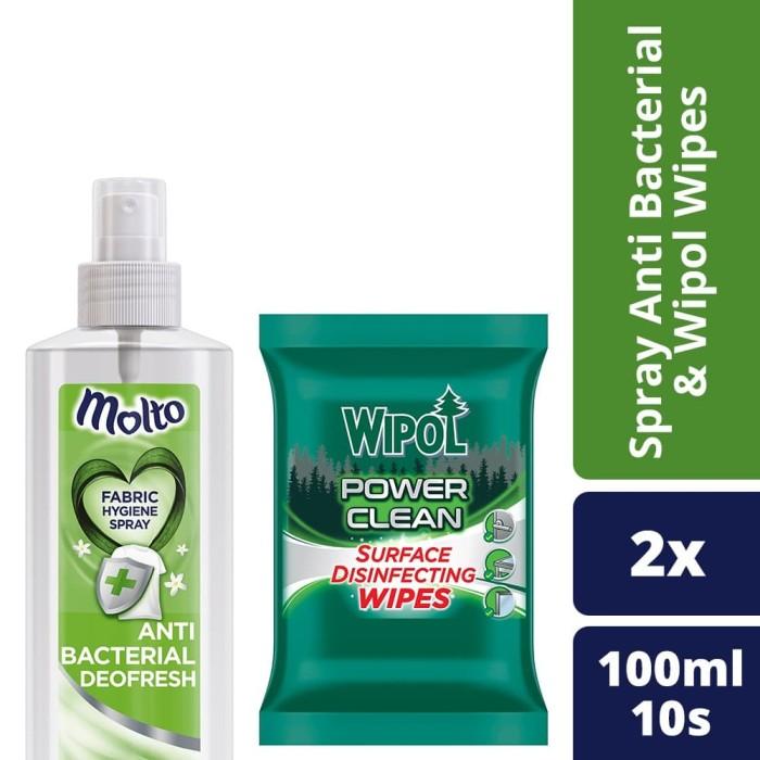 Foto Produk Molto Spray Anti Bacterial 100 Ml dan Wipol Wipes 10s dari Unilever Official Store