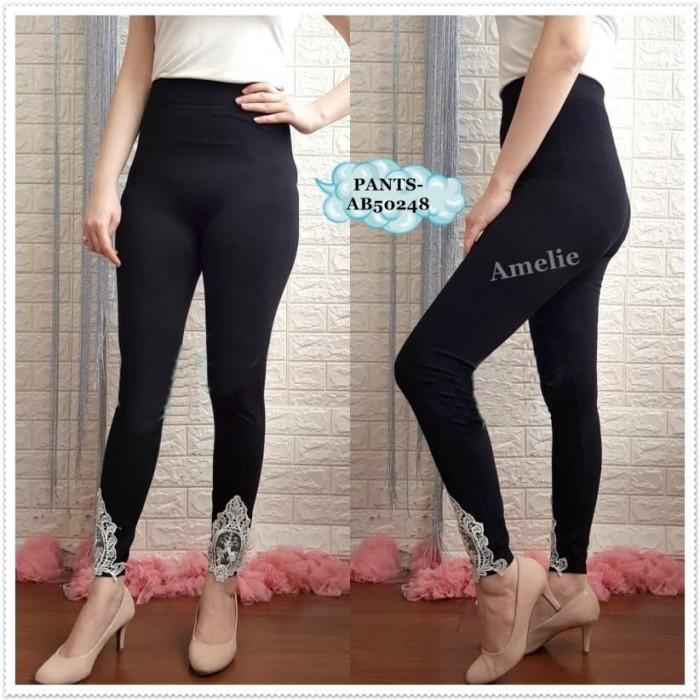 Jual Ab50248 Celana Legging Wanita Korea Import Lace Pants Hitam Black Jakarta Pusat Amelie Butik Wholesale Tokopedia