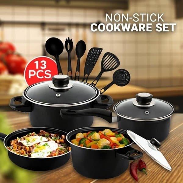 Foto Produk Panci Cookware Set 13 HITAM - Panci Wajan Set 13 Tutup Kaca All In One dari Fortuna Acc