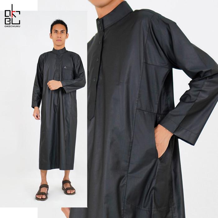 Foto Produk Al-isra Jubah SALMAN Pakaian Gamis Pria Muslim Motif Polos - Hitam, M dari Okechuku