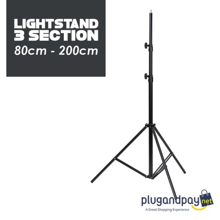 Foto Produk Light Stand Tripod 16mm 1/4 Thread 3 Section 200cm dari plugandpay