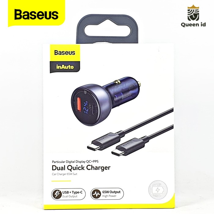 Foto Produk Baseus Car Charger 5A 65W Fast Charging PD Dual Output USB TYPE C dari Queen-accessories