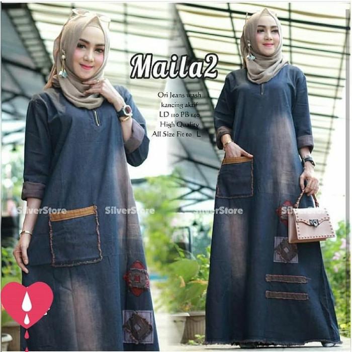 Foto Produk maila dress#2/gamis jeans wash/gamis muslim/termurah&terlaris - Satu Warna, L-XL dari Nabila Olshop Murah