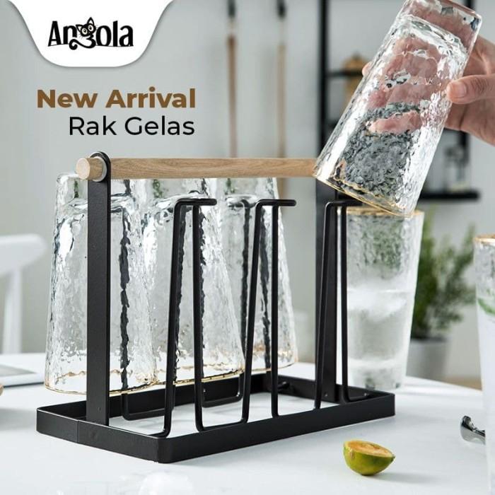 Foto Produk Angola Rak Gelas Gantung G06 Cup holder Rak Cangkir Tempat Gelas - Cokelat dari Angola Official Store