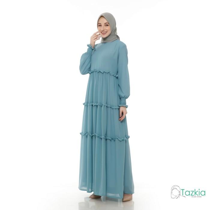 Foto Produk Gamis Wanita   Hasna Dress Biru   Ceruty Babydoll Full Furing Original - Biru dari Tazkia Hijab Store