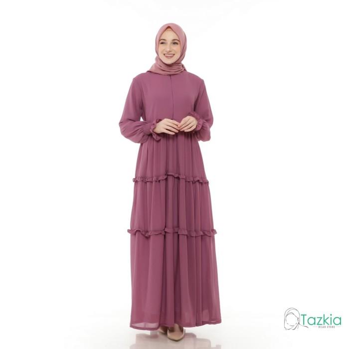 Foto Produk Gamis Wanita | Hasna Dress Ungu | Ceruty Babydoll Full Furing Original - Ungu dari Tazkia Hijab Store