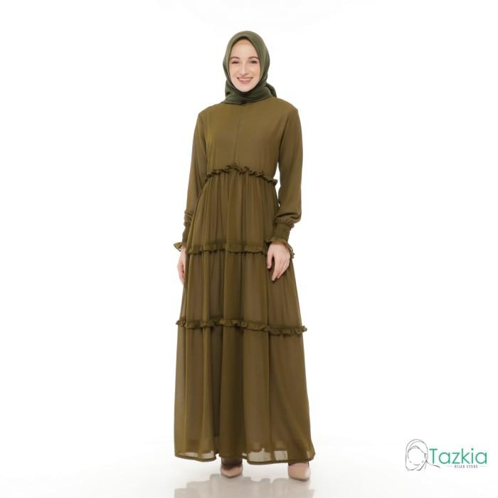 Foto Produk Gamis Wanita | Hasna Dress Army | Ceruty Babydoll Full Furing Original - Army dari Tazkia Hijab Store