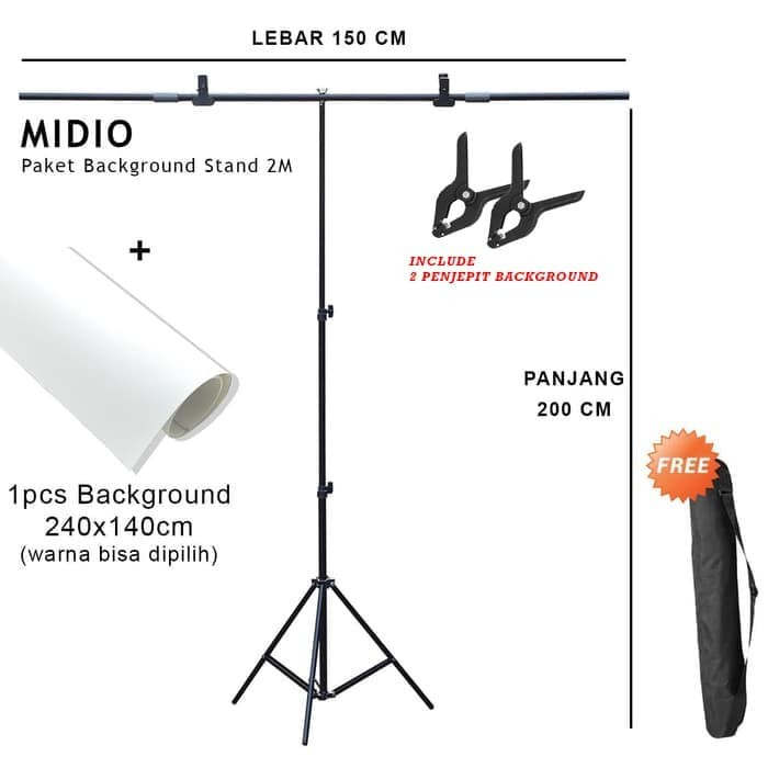 Foto Produk Paket Background Stand 2M + Background Studi Foto Midio 240x140 dari Midio