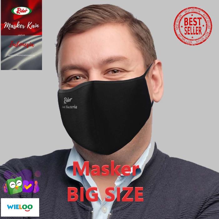 Foto Produk Masker Kain Rider BIG SIZE Anti Bakteri 2 ply (Earloop) - Hitam dari wieloo