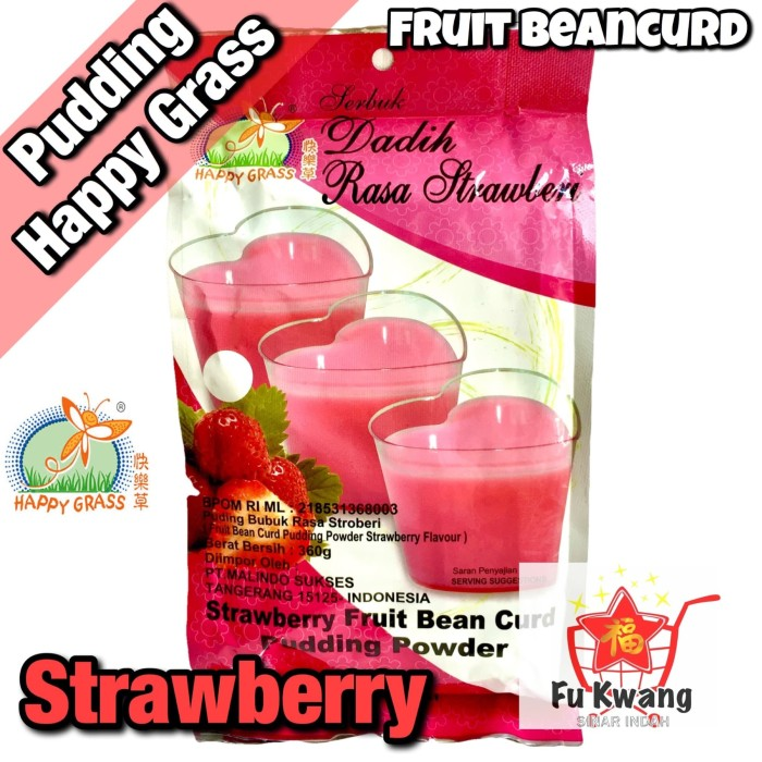 Foto Produk Fruit Bean Curd Pudding Powder Strawberry Happy Grass 360 gram dari Fu Kwang Mart