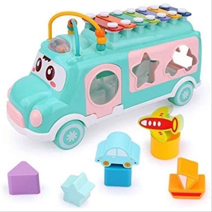 Foto Produk MAINAN BAYI BUS MOBIL MOBILAN 2 IN 1 XYLOPHONE PUZZLE HAPPY BUS MX009 dari Lumi Toys