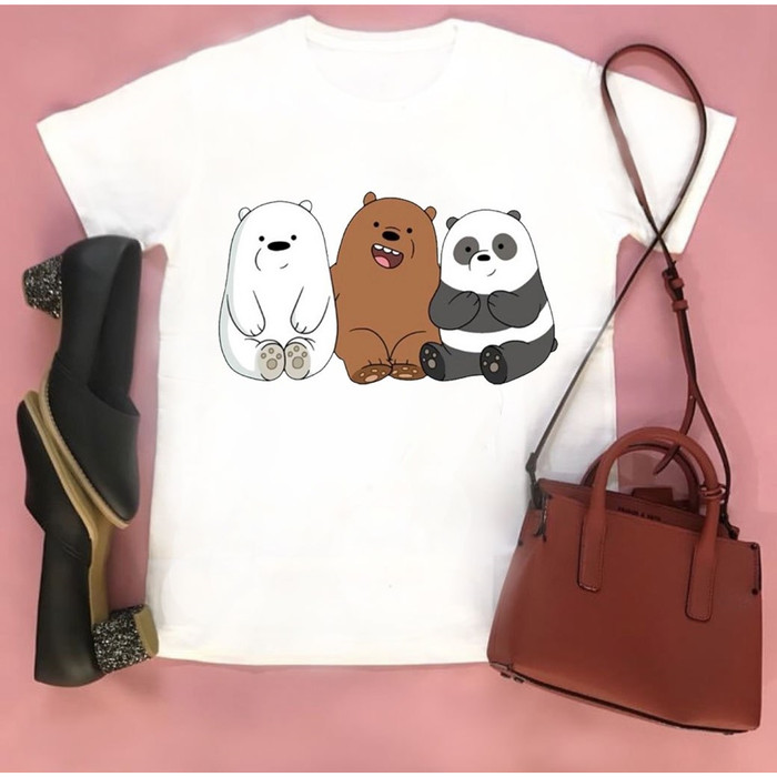 Foto Produk Kaos Wanita Bare Bears - Lengan Pendek - Yourchoice.id - Putih-Spandek dari YOURCHOICE ID