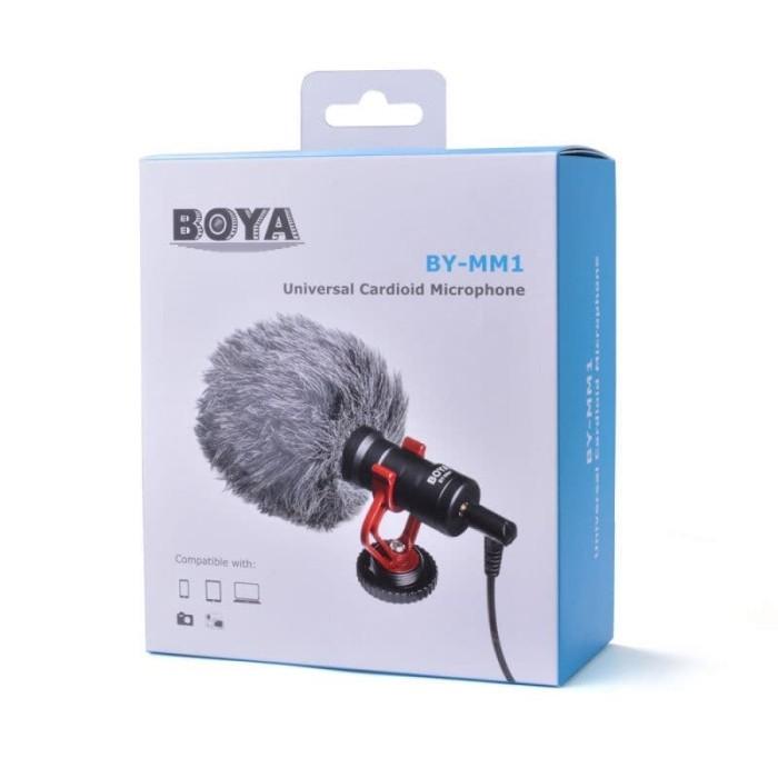 Foto Produk Microphone Boya BY-MM1 BY-MM1 Cardioid Shotgun mic Vlogging DSLR Mirro dari Grosir Aksesoris Kamera