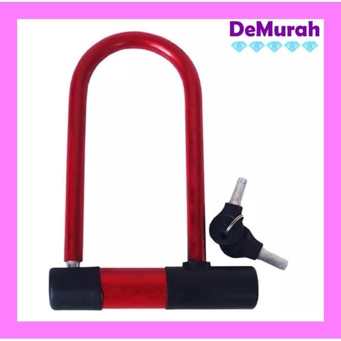 Foto Produk Gembok Sepeda dan Motor Besar Motorcycle U Lock 0496 - Merah dari Demurah Dot Com