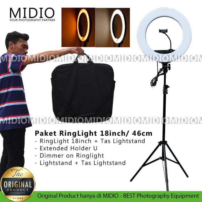 Foto Produk RingLight 18inch Midio Dimmable Untuk Lampu Selfie Beauty Vlogger dari Midio