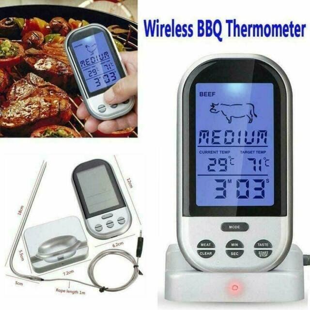 Foto Produk Food Thermometer Timer Alarm Wireless Makanan Minuman BBQ Meat Oven dari HRDIK