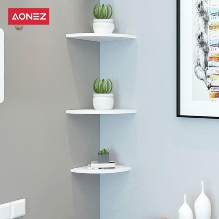 Foto Produk AONEZ Rak siku tembok Berbentuk Kipas Segitiga Rak Dinding Pojok - Putih dari AONEZ Official Store