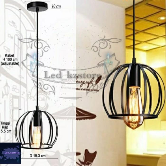 Jual Kap Lampu Gantung Besi Flat Sangkar 3/4 Bulat Vintage Fitting E27 - Jakarta Barat - Led_kzstore | Tokopedia