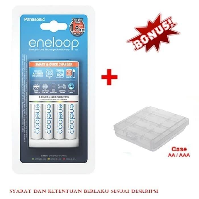 Foto Produk Panasonic Smart & Quick Charger 1.5 Jam 4 Baterai Eneloop AA + case A2 dari Data Point Cellindo