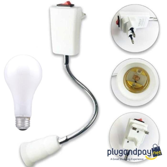 Foto Produk Adapter Saklar Ekstensi Bohlam Lampu E27 EU Plug 20cm - plugandpay dari plugandpay