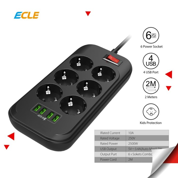 Foto Produk ECLE Power Strip Stop Kontak 6 EU Socket 4 Smart USB Port Fast Charge dari ECLE Official Store
