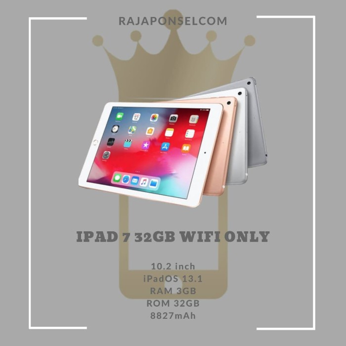 "Foto Produk Apple iPad 7 2019 10.2"" Cellular / Wifi 32GB 32 Grey Silver Gold - WIFI GRAY dari RajaPonselcom"