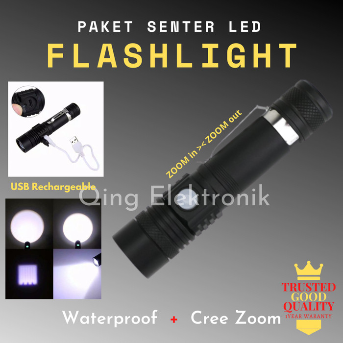 Foto Produk SENTER FLASLIGHT LED CREE ZOOM + USB RECHARGEABLE WATERPROOF dari QING ELEKTRONIK