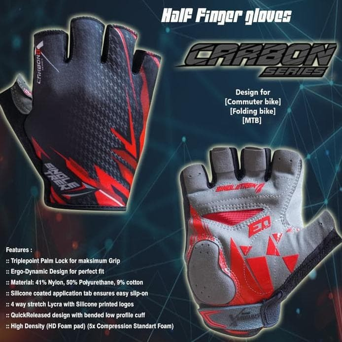 Foto Produk Gloves sepeda Carbon X ErgoDynamic PalmLock half finger - Red - XXL dari puspashop03