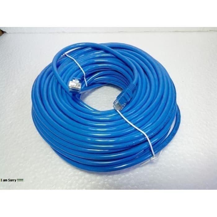 Foto Produk Kabel LAN UTP 30M RJ45 Cat 5e Cable 30 Meter terpasang konektor cat5e dari MULTI KOMPUTER