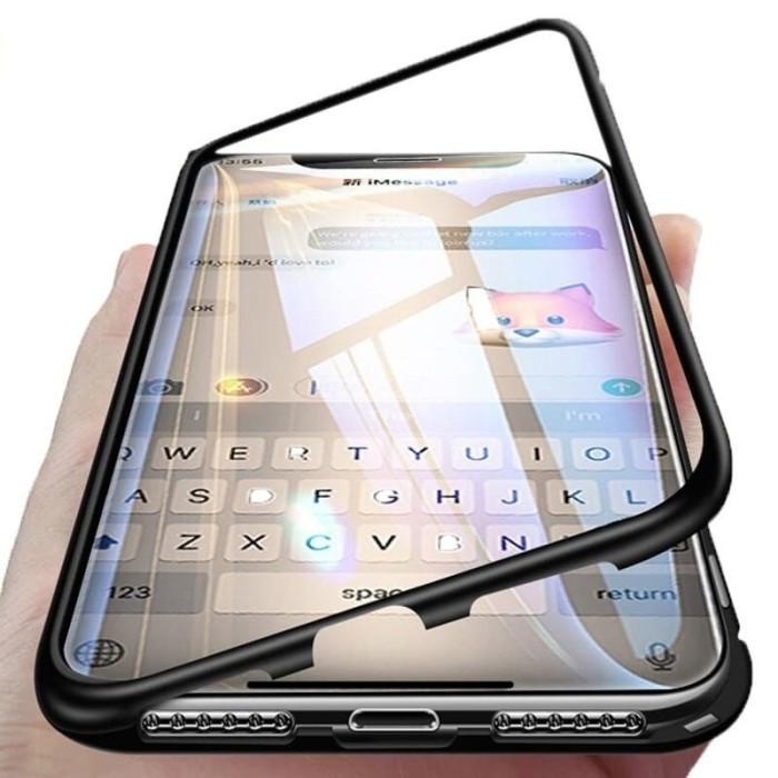 Foto Produk Samsung A9 2018 M20 Note 8 9 S8 S10 Hard Case Magnetic Glass Magnet - Hitam, a9 2018 dari NYATACELL